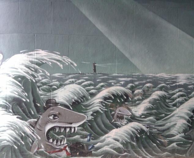 The shark-infested the seas