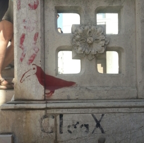 """The """"bird with the plague doctor mask"""" stencil - in red"""