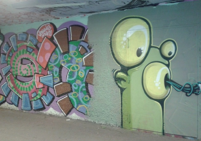 Mr Gum in the underpass, Munich, Germany, October 2015