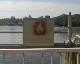 Fire stencil near Goettingen, Germany. August 2007