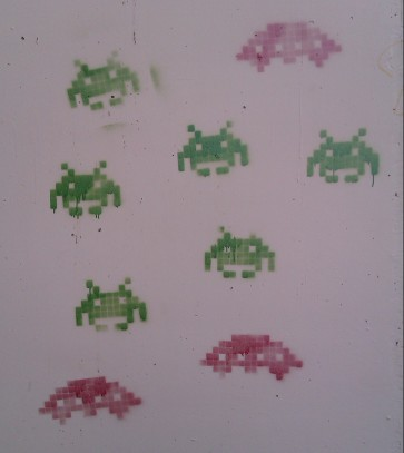 Space Invader stencils in Barcelona, Spain. November 2011