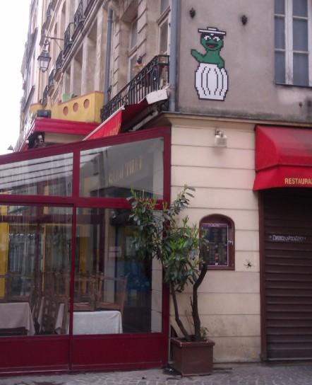 Oscar the Grouch tile mosiac... and incy-wincy spider! Paris, France, April 2012