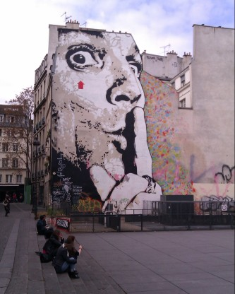 Watching over the square outside Pompidou by JR in Paris, France, April 2012