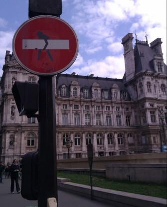 A Clet Abraham street sign - Paris, France, April 2012