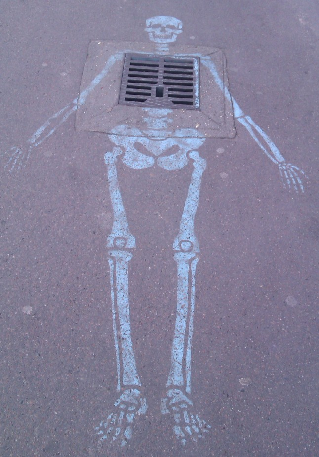 Pavement stencil, Paris, France, April 2012