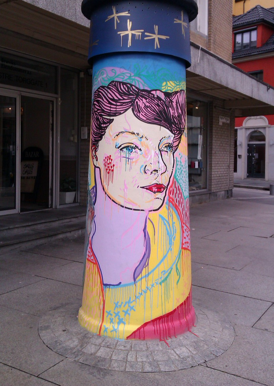 Beautifully colourful pillar in Bergen, Norway, August 2012