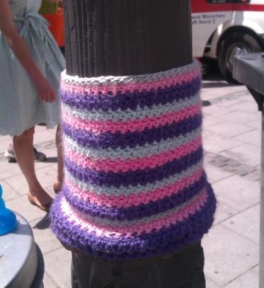 Yarn bomb in Marienplatz